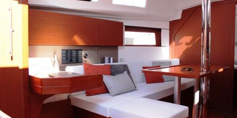 inside galley of yacht