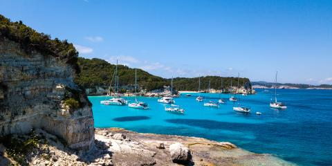 Catamarans Anchoring Corfu Coastline Greece