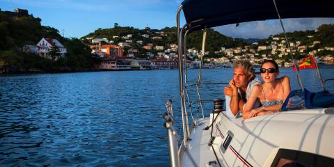 couple on monohull in Grenada
