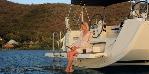Woman on Moorings 45.4 transom