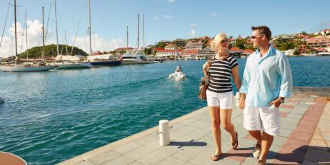 couple walking in the marina