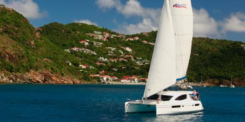 catamaran underway in St. Martin