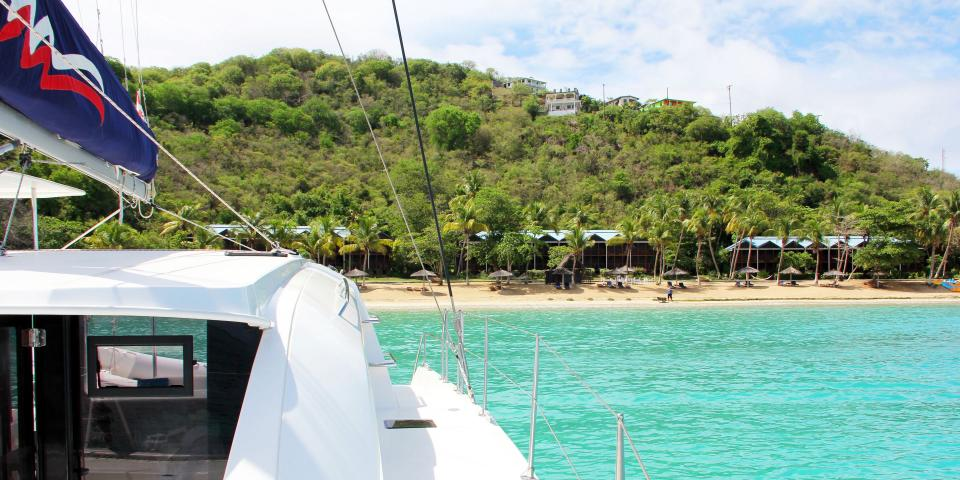 View of St. Lucia from a sailing catamaran