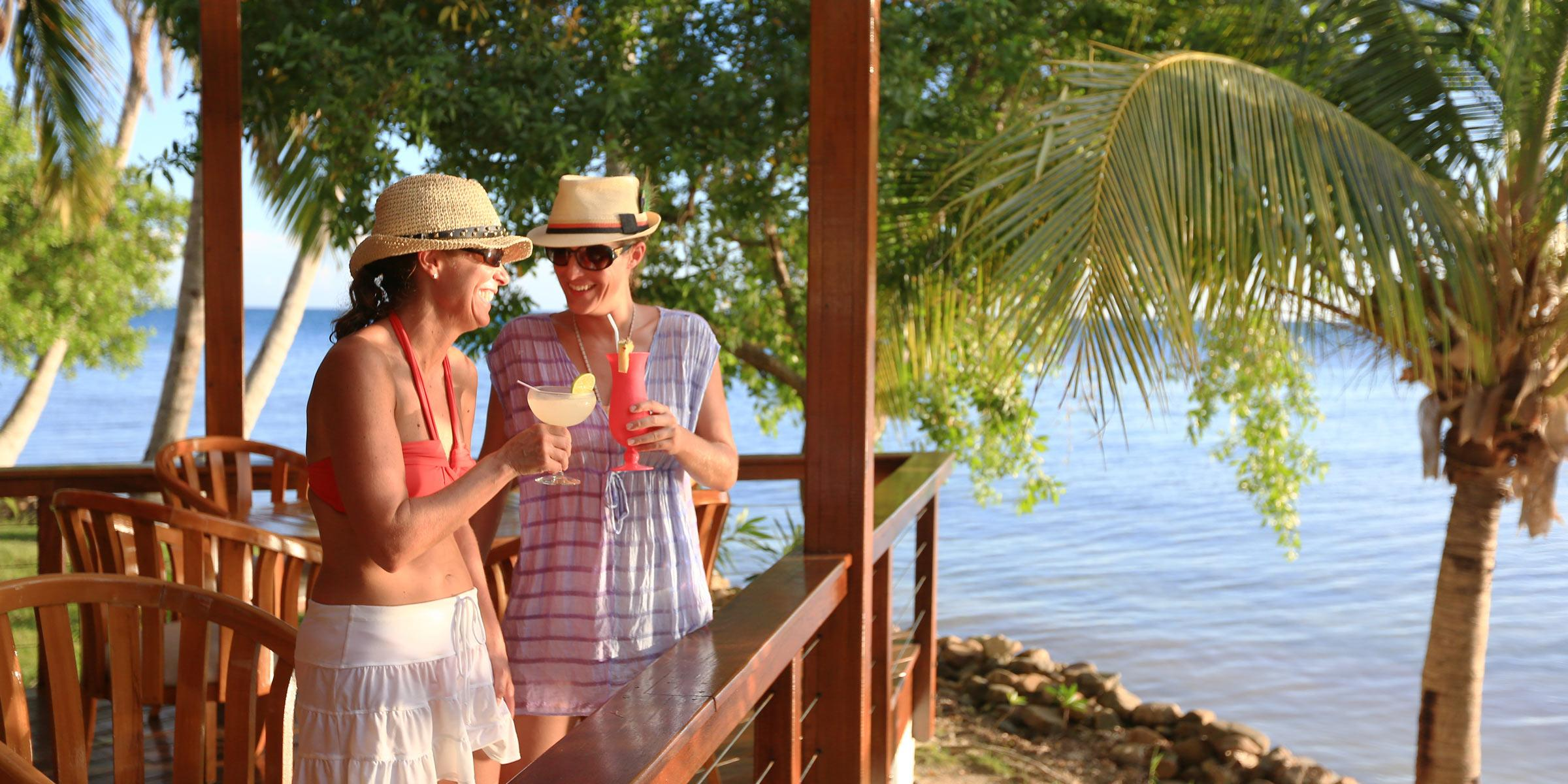 Drinks and fun at Hachet Cay Belize