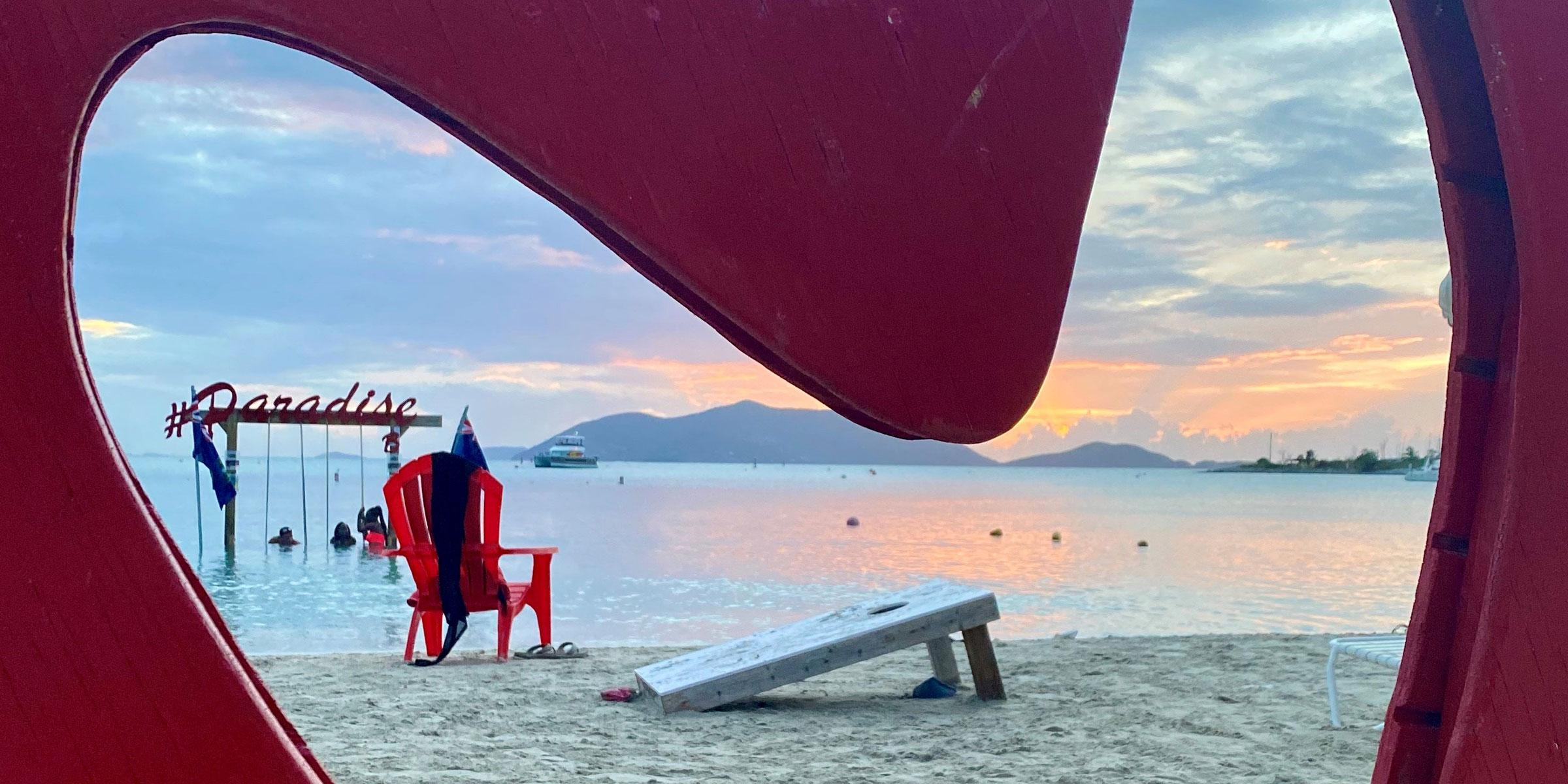 View on BVI Paradise swing at Cane Garden Bay