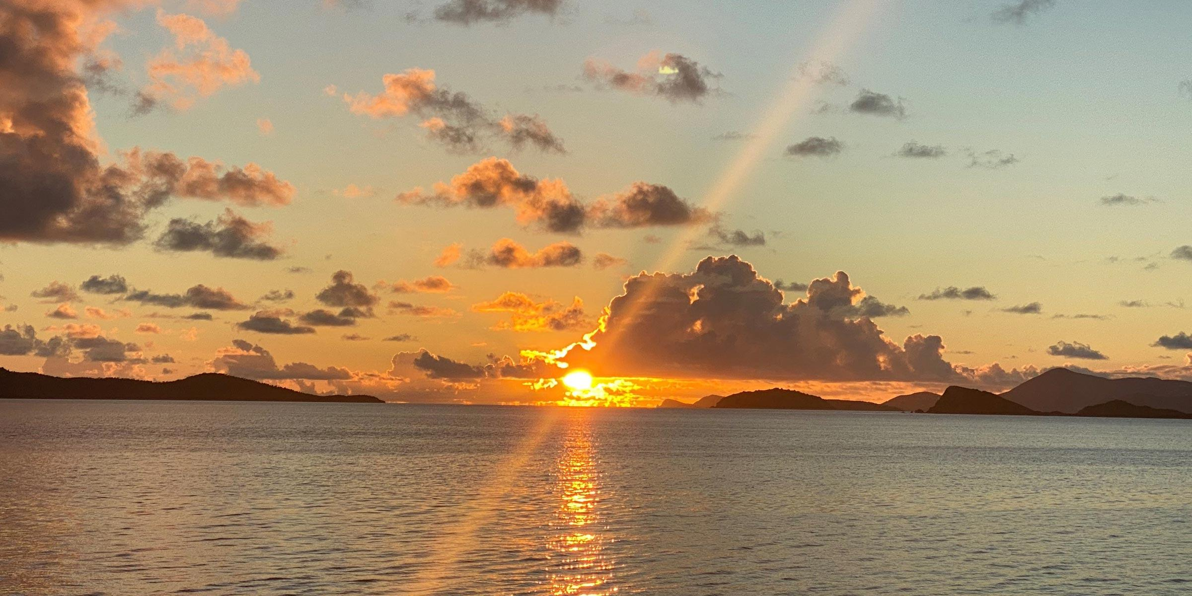 Sunset with clouds in the British Virgin Islands