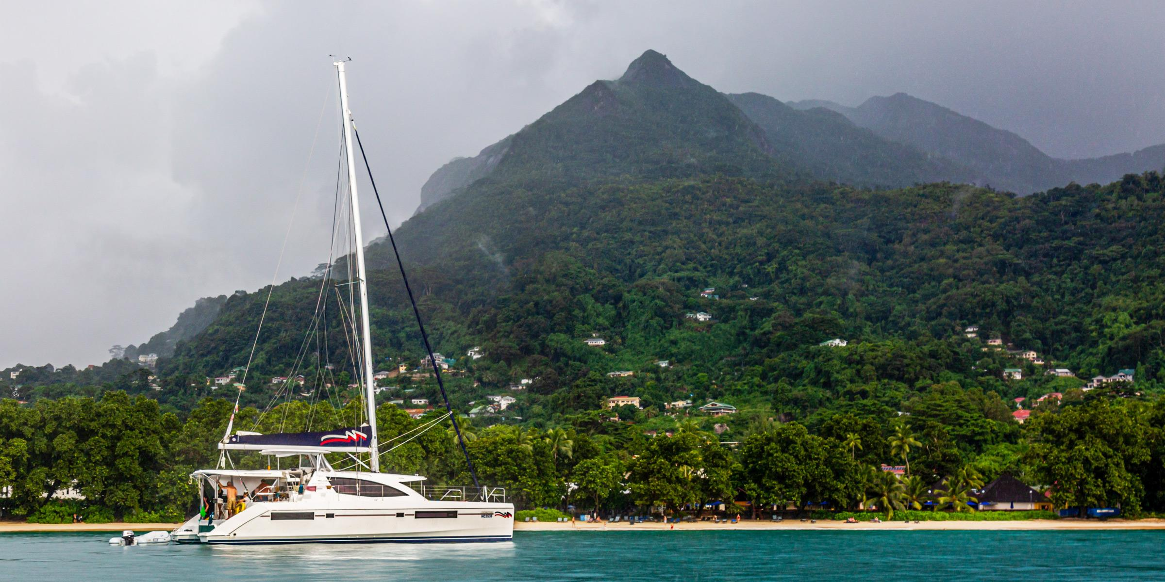 Moorings 4800 anchoring in the Seychelles